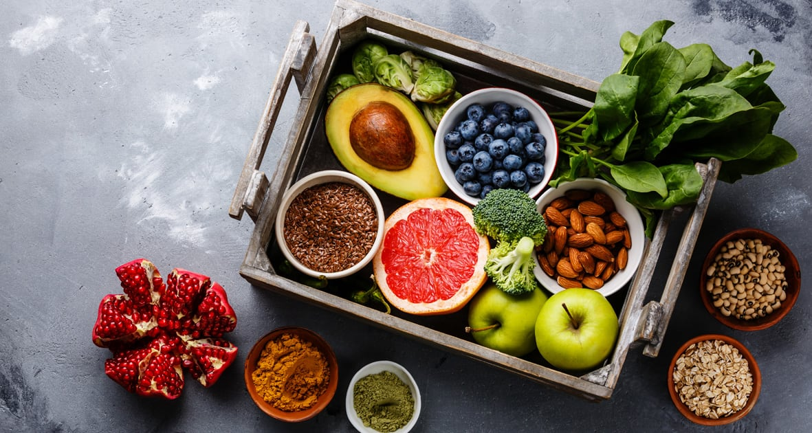 Delicious selection of fruit and spices